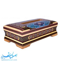 جعبه دستمال کاغذی خاتم کاری با نقاشی اسلیمی