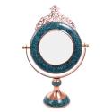آیینه گرد کوچک فیروزه کوبی تاج دار