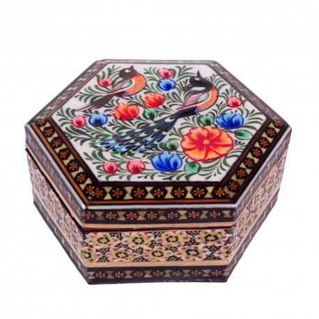 جعبه هشت گوش خاتم کاری با نقاشی گل و مرغ