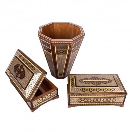 سطل و جعبه دستمال کاغذی ست جهیزیه خاتم کاری صنایع دستی