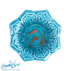 حوضچه سفالی با نقاشی ماهی قرمز سع بعدی روی رزین