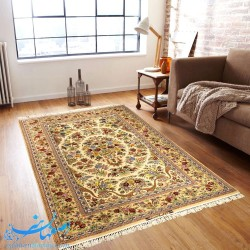 فرش دستباف اصیل ایرانی طرح گل و بوته ابعاد 233×150 سانتیمتر